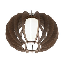 Eglo 95589A - 1x60W Ceiling Light w/ Dark Brown Wood Finish & White Glass