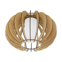 Eglo 95597A - 1x60W Ceiling Light w/ Maple Wood Finish & White Glass