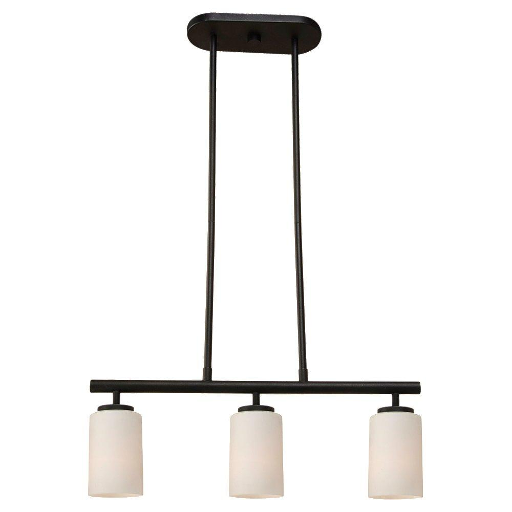 Fluorescent Three Light Island Pendant in Blacksmith Finish with Cased Opal Etched Glass
