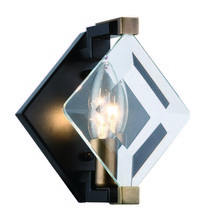 Elegant 4000W6FB - 4000 Endicott Collection Wall Light D:5.9in H:7.5in E:5.3in Lt:1 Burnished Brass + Flat black + Clea