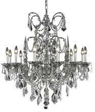 Elegant 9712D32PW/SS - 9712 Athena Collection Chandelier D:32in H:33in Lt:12 Pewter Finish (Swarovski� Elements Crystals)