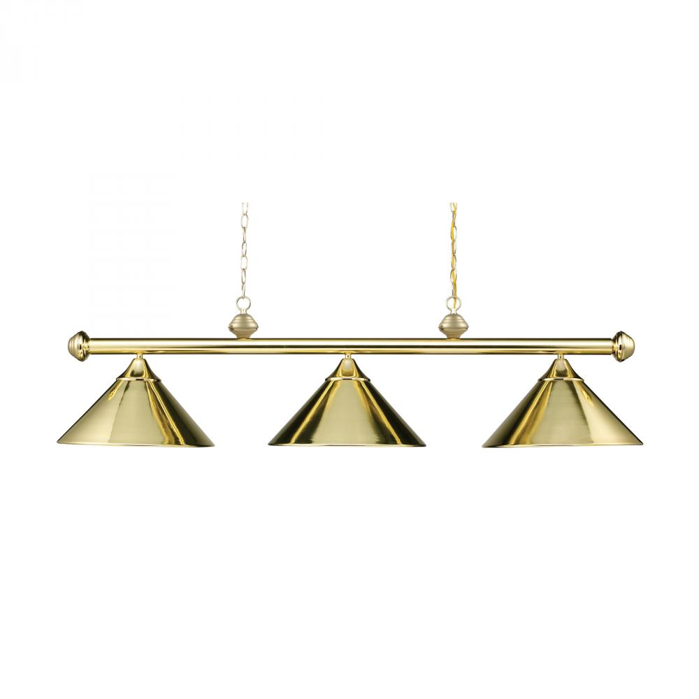 Three Light Polished Brass Metal Shade Pool Table Light